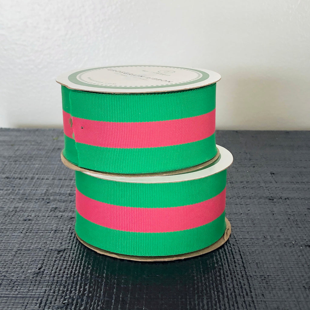Preppy 2-Color Striped Grosgrain Ribbon | Green + Hot Pink