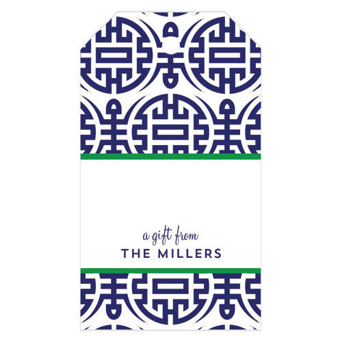 Happiness Chinoiserie Personalized Gift Tags | More Colors