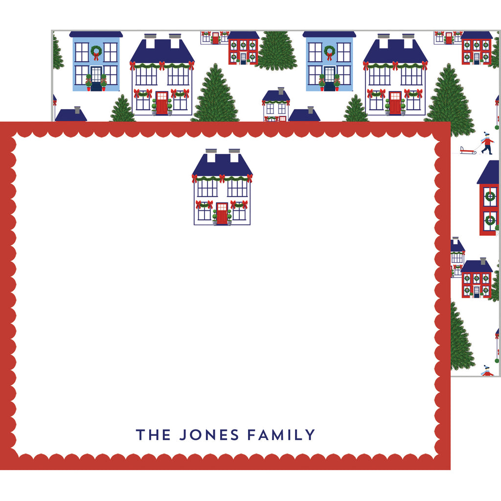 Holiday Village Personalized Flat Notecard