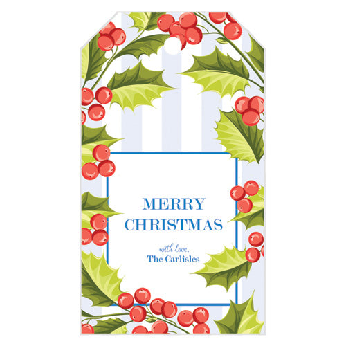 Holly Blue Stripe Christmas Gift Tags