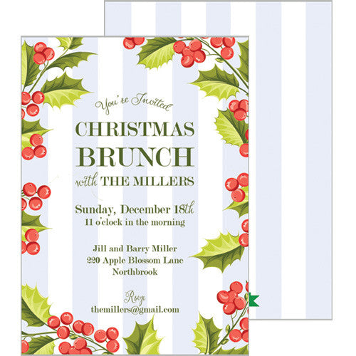 Holly Stripe Holiday Party Invitation