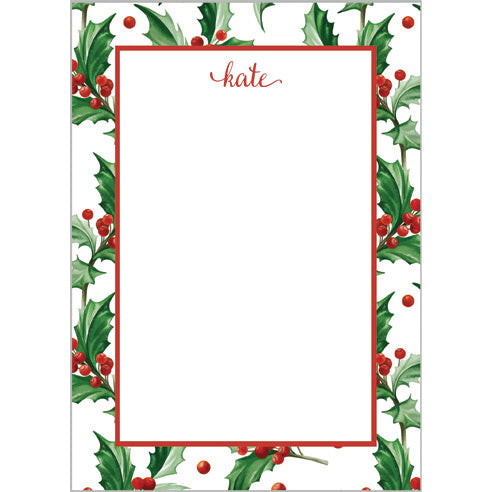 Christmas Holly Personalized Notepad