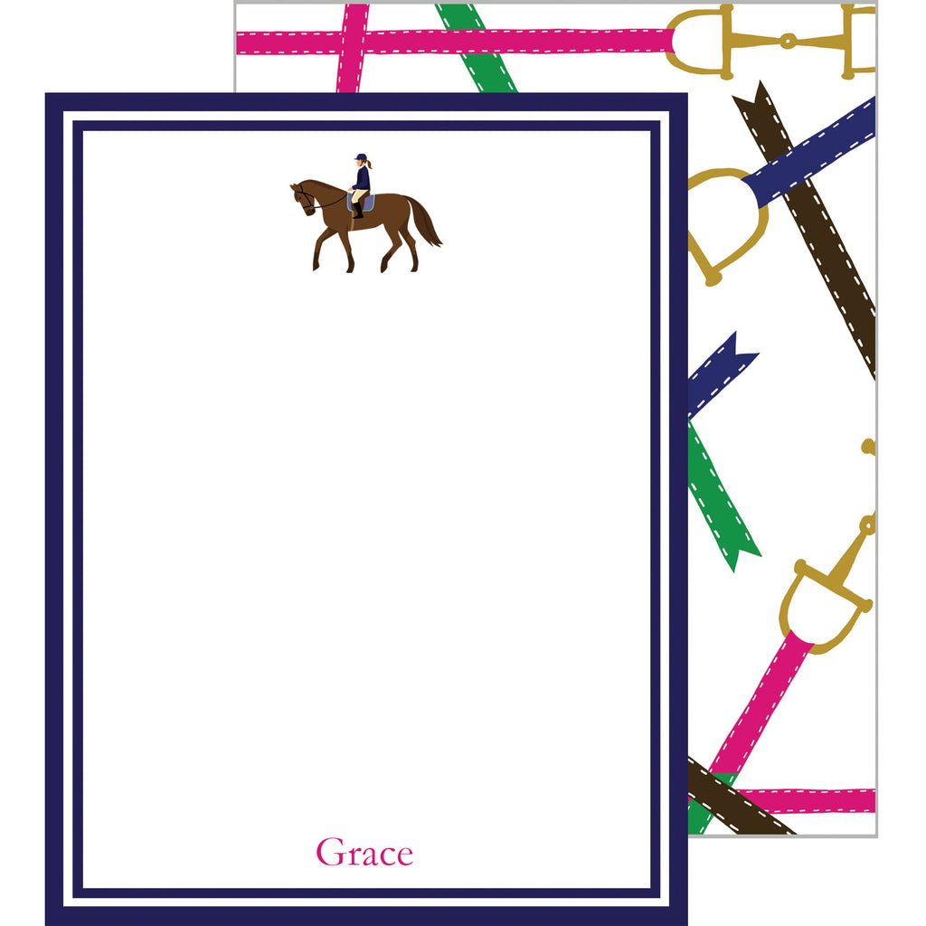 Equestrian Horse Bits Personalized Flat Notecard
