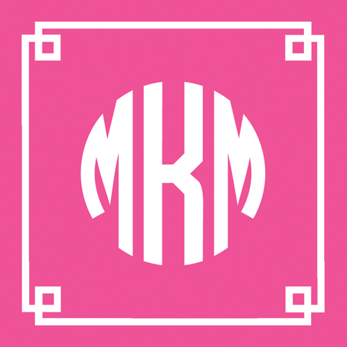 Pink Fretwork Monogram Square Gift Sticker