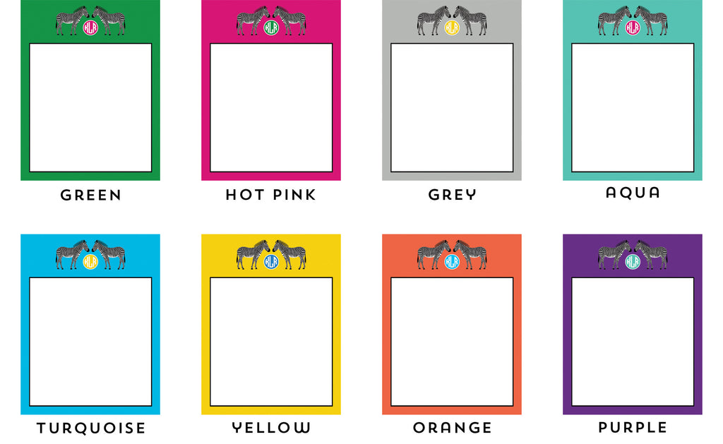 Zebra Personalized Notepad - More Color Options