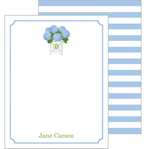Blue Hydrangeas Personalized Flat Notecards