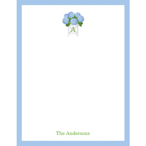 Blue Hydrangeas Personalized Notepad