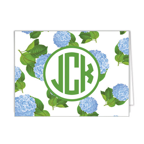 Hydrangeas Pattern Monogram Personalized Folded Notecards