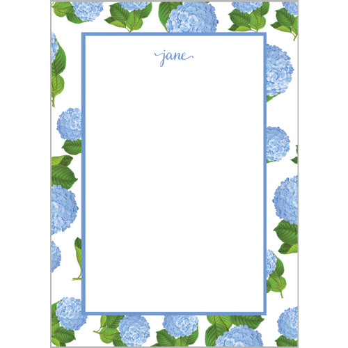 Blue Hydrangeas Pattern Personalized Notepad