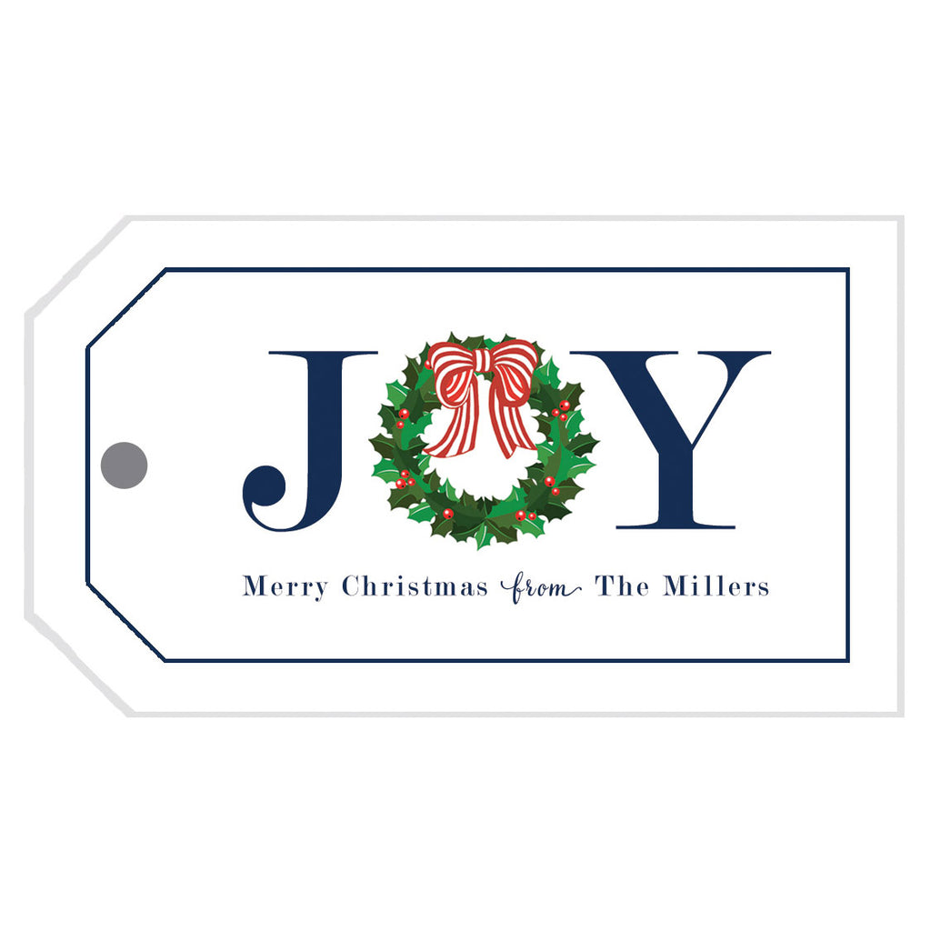 JOY Holly Christmas Wreath Gift Tags