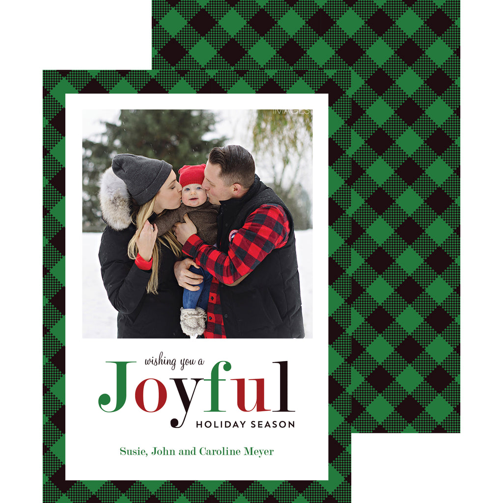 Joyful Green and Black Check Holiday Photo Card