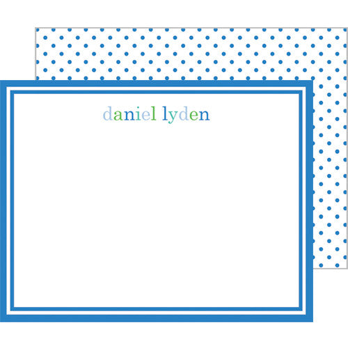 Blue Colorful Text Personalized Flat Notecards