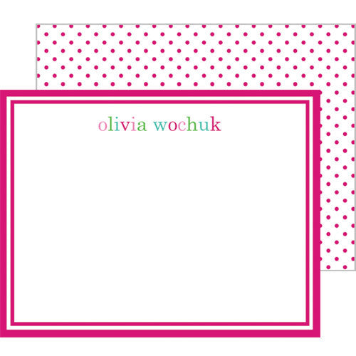 Pink Colorful Text Personalized Flat Notecards