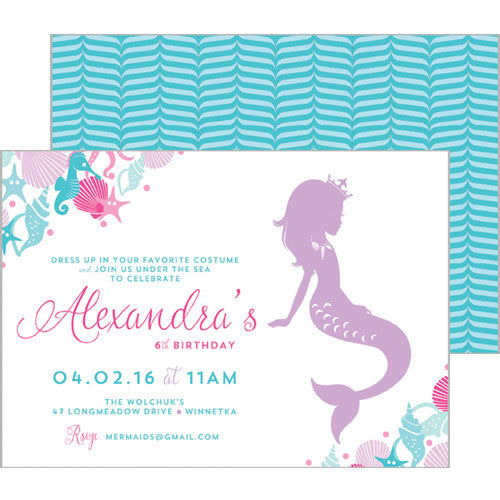Mermaid Under the Sea Double-Sided Invitation