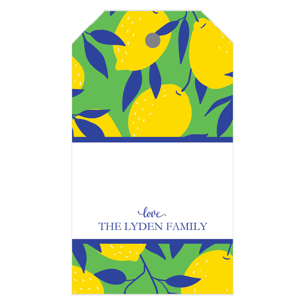 Lemon Block Print Personalized Gift Tags