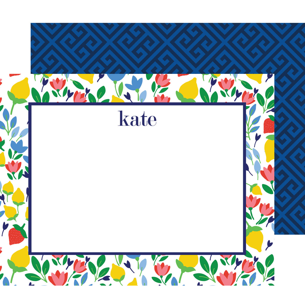 Lemon Floral Personalized Flat Notecards