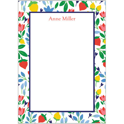 Lemon Floral Personalized Notepad