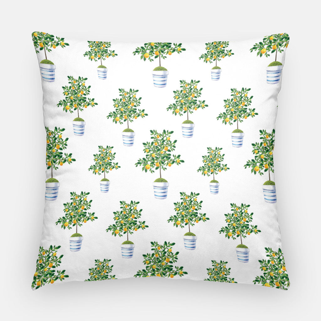 Cotton Throw Pillow Case | Lemon Tree