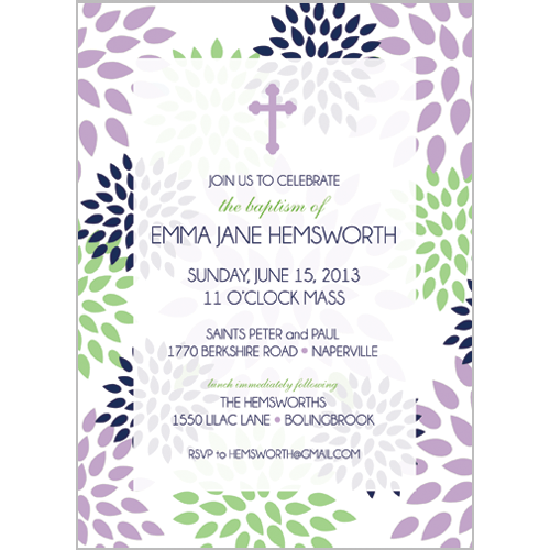 Lilac Green Mums First Communion Invitation
