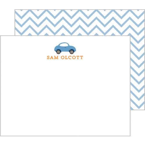 Little Blue Car Personalized Flat Notecards