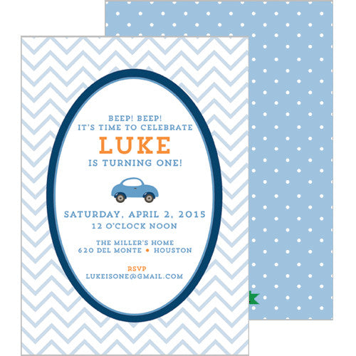 Little Blue Car Double-Sided Invitation