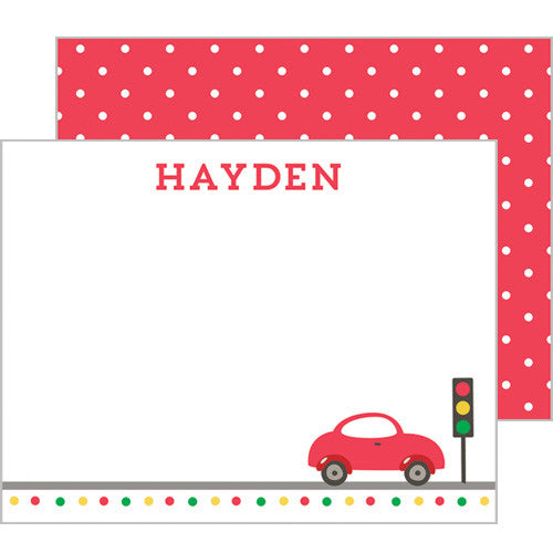 Little Red Car Personalized Flat Notecards