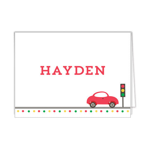 Little Red Car Personalized Folded Notecards