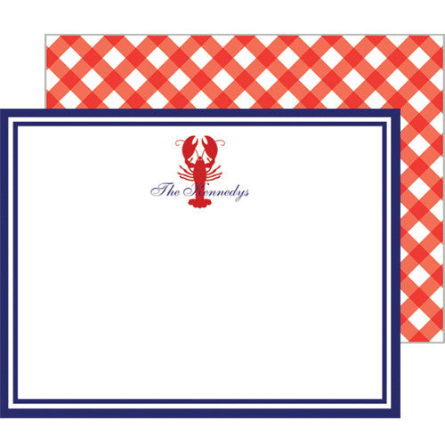 Lobster Gingham Personalized Flat Notecards