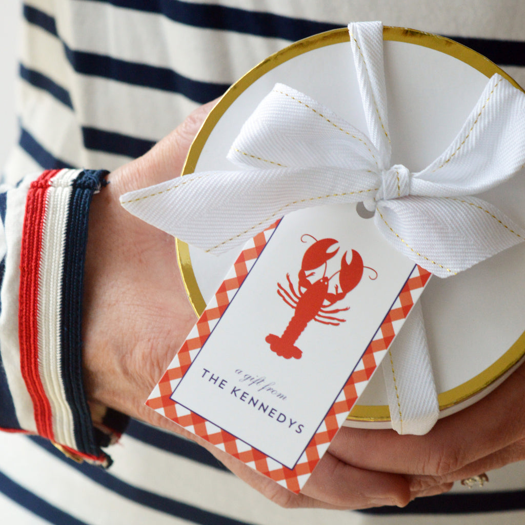 Lobster Gingham Check Personalized Gift Tags