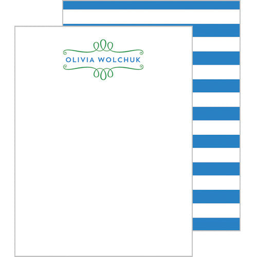 Loop Stripe Personalized Flat Notecards - More Colors