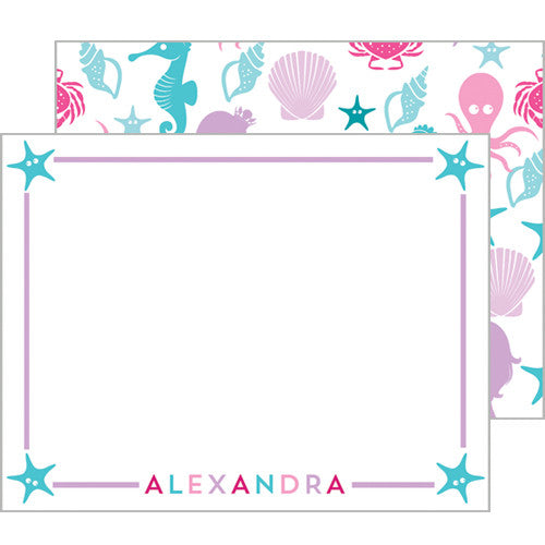 Mermaid Under the Sea Flat Notecards