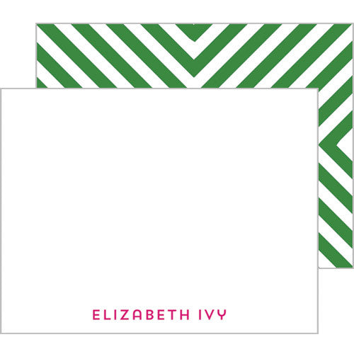 Mitered Stripe Personalized Flat Notecards - More Color Options