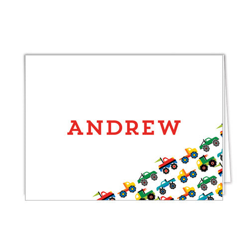 Monster Truck Personalized Folded Notecard