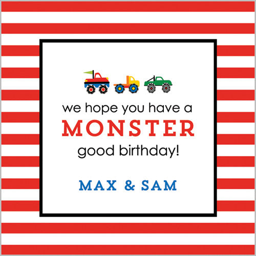 Monster Truck Gift Sticker - Set of 24