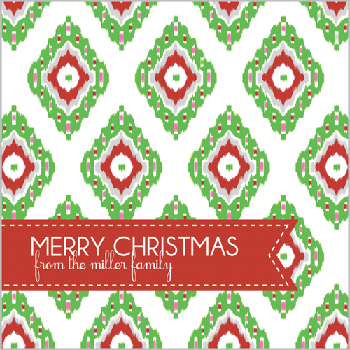 Multi-Color Christmas Ikat Square Gift Sticker - Set of 24