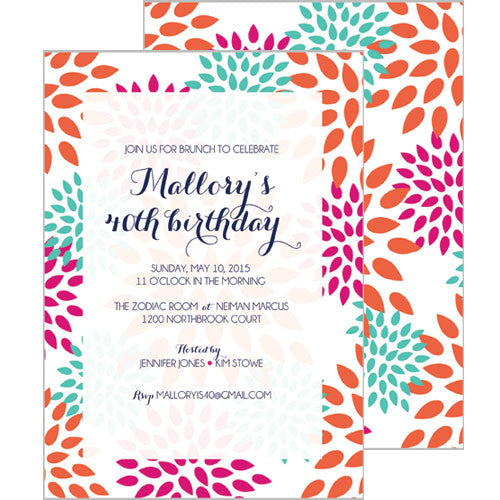 Mums Floral Invitation - Aqua
