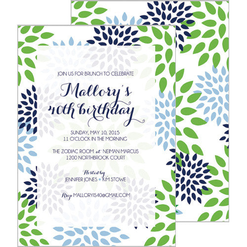 Mums Floral Invitation - Blue
