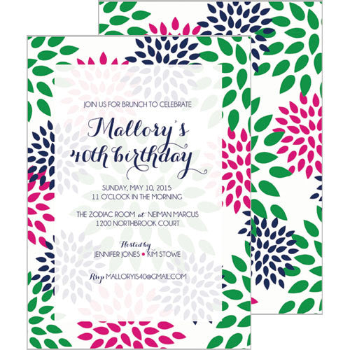 Mums Floral Invitation - Hot Pink