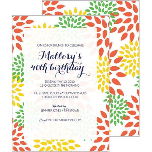 Mums Floral Invitation - Yellow