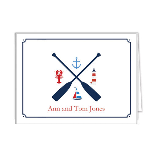 Nautical Crest Personalized Folded Notecards