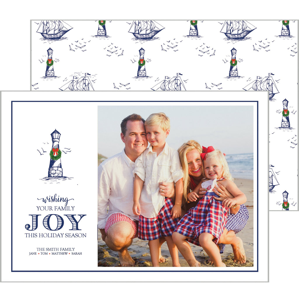 [CUSTOM] Christmas Lighthouse Nautical Holiday Photo Card