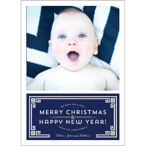Holiday Greek Key Border Photo Card - More Color Options