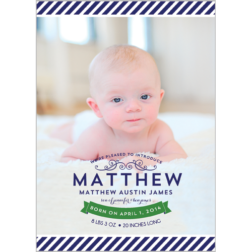 Preppy Navy Blue Stripe Photo Birth Announcement Card