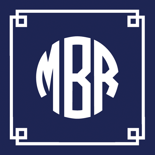 Navy Blue Fretwork Monogram Square Gift Sticker