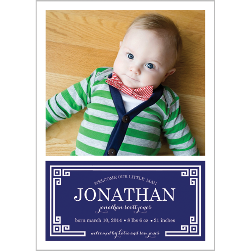 Navy Blue Greek Key Plaque Photo Birth Announcement Card