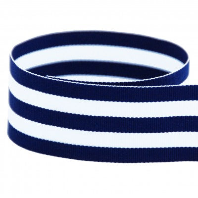 Preppy Striped Grosgrain Ribbon | Navy Blue