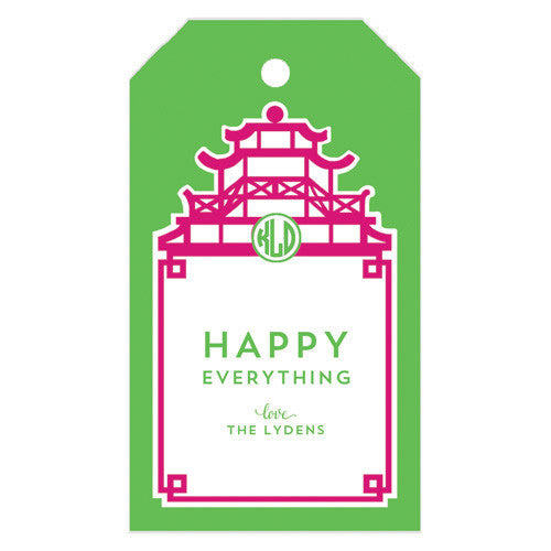 Monogrammed Pagoda Gift Tags | More Colors