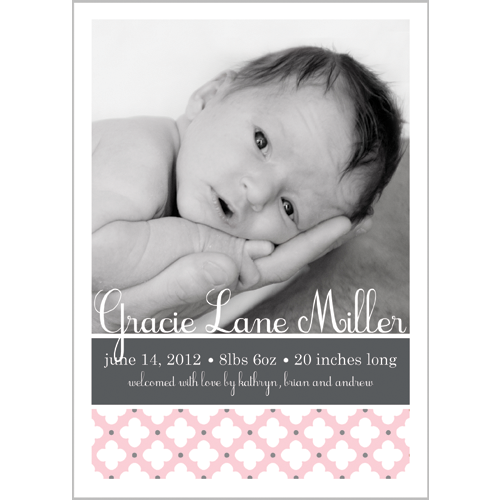 Pale Pink & Grey Clover Dot Photo Birth Announcement Card