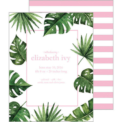 Palm Leaves + Cabana Stripes A2 Birth Announcement Card