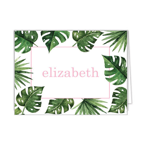 Palm Leaves + Cabana Stripes Personalized Folded Notecards